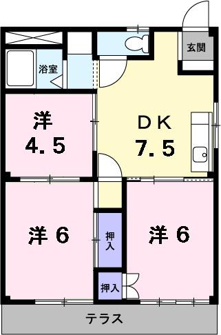 シティハイツ熊坂Ⅰ・02020号室の間取り