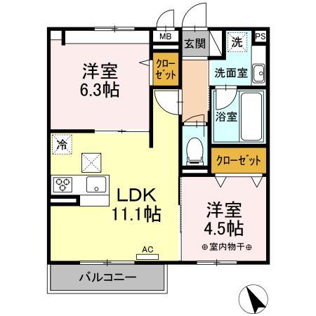 (仮)D-room東真土・102号室の間取り
