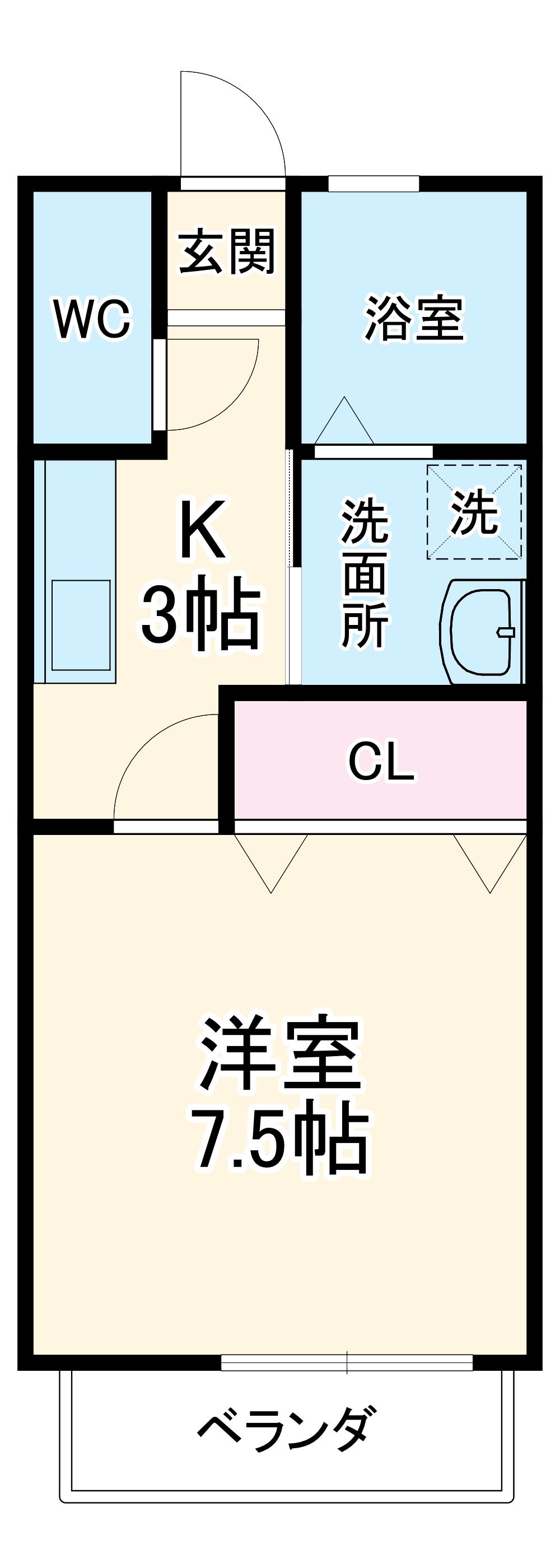 ハッピーハウスⅢ・202号室の間取り