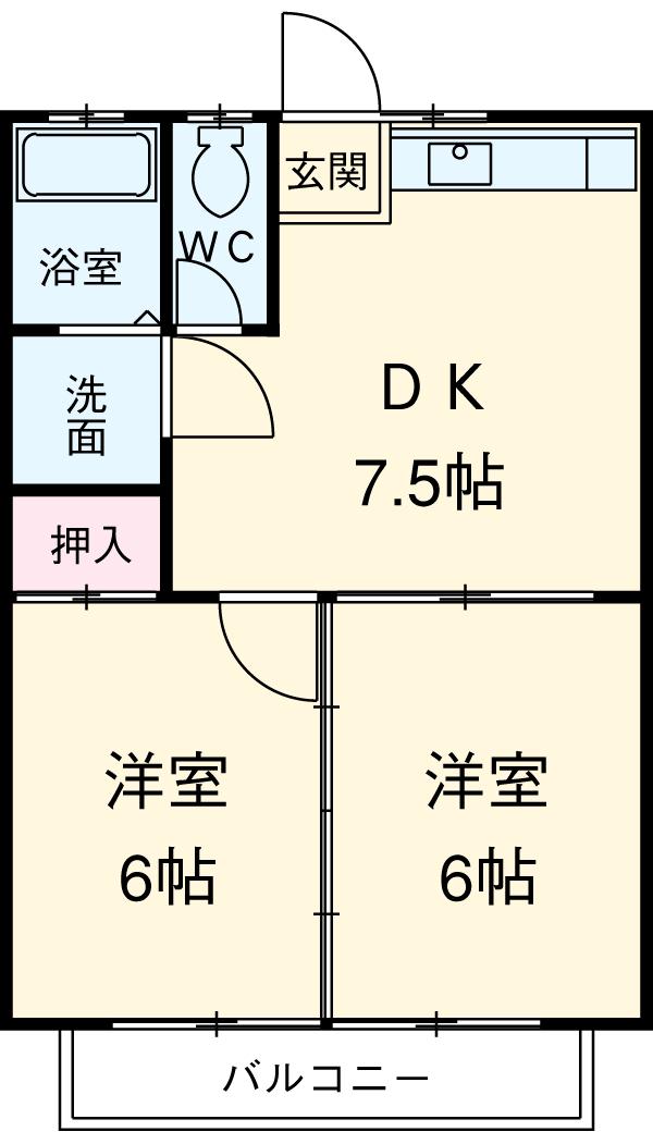安井マンションⅢ・110号室の間取り
