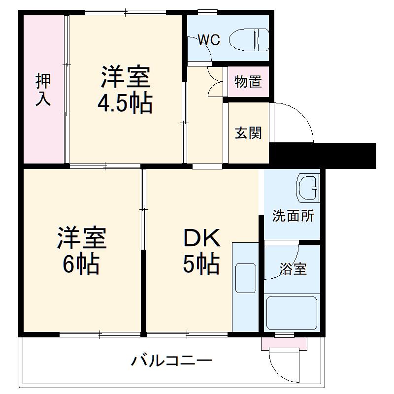 ビレッジハウス検見川8号棟・202号室の間取り