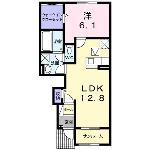 ラ コーヴァ綾川Ⅱ・01030号室の間取り