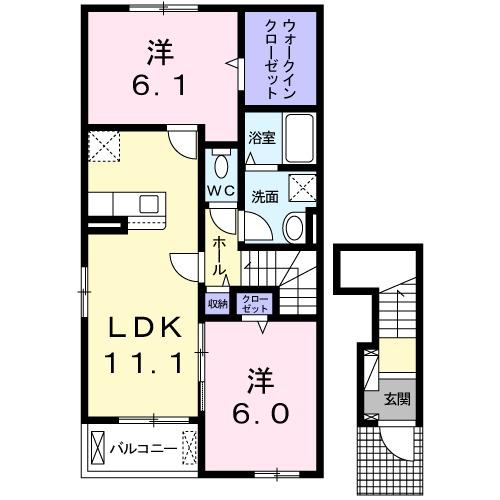 ラ コーヴァ綾川Ⅱ・02010号室の間取り