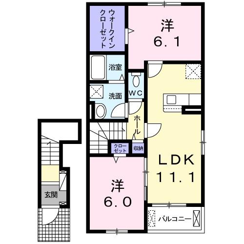 ラ コーヴァ綾川Ⅱ・02040号室の間取り