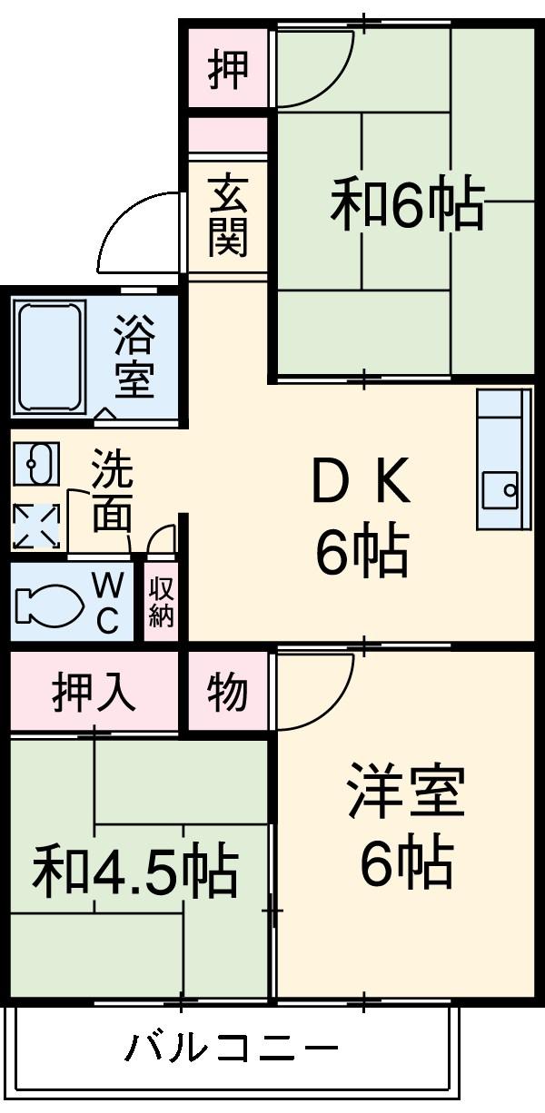 稲垣荘・202号室の間取り