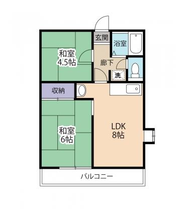 駿河ハイムA・102号室の間取り