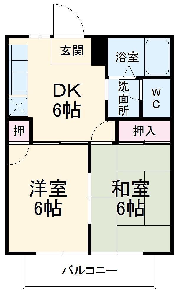 シェルティKUWAGO Ⅰ・201号室の間取り
