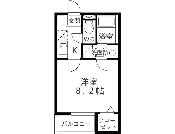 クレフラスト鶴里 102号室の間取り