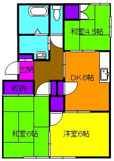 西ヶ崎グリーンハイツⅡ・205号室の間取り