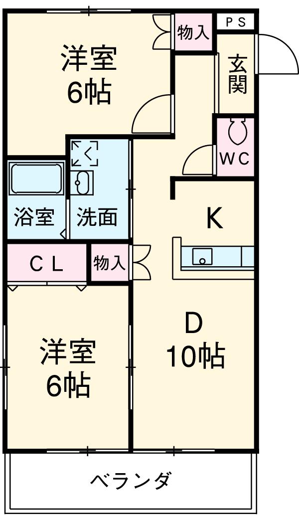 サニーコートOOKAWARA A・103号室の間取り