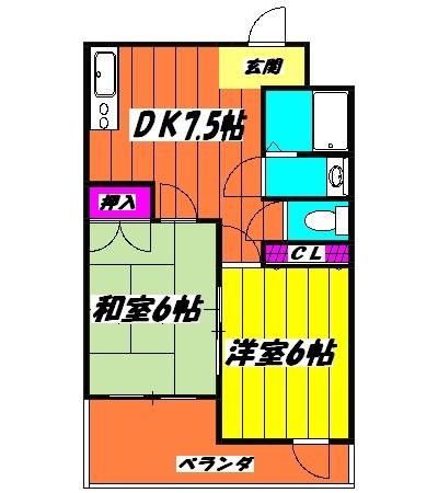 ルナマンション松戸・402号室の間取り