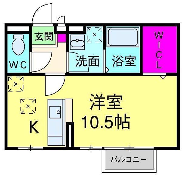 モナリエ古ヶ崎Ⅱ・202号室の間取り
