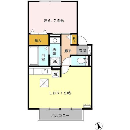 セジュール川島田・103号室の間取り