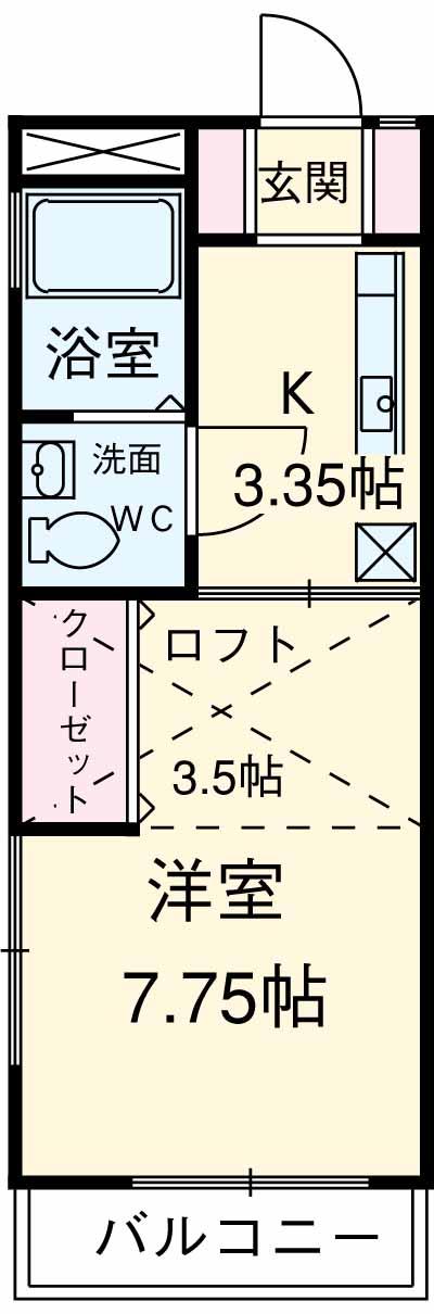 カニス高石神 205号室の間取り