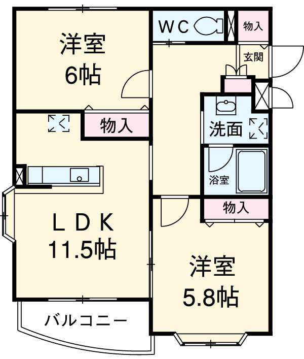 グランメール北松戸・103号室の間取り