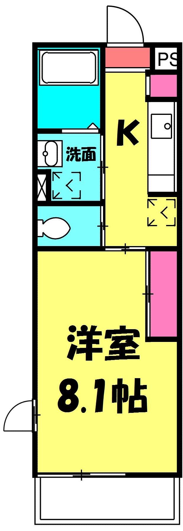 リブリ・TATSUMI 305号室の間取り