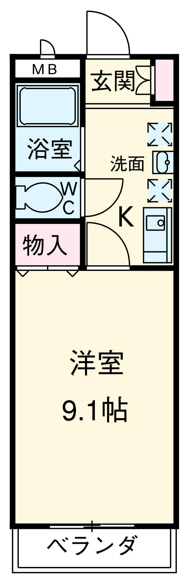 シャトー栗見坂Ⅱ 202号室の間取り