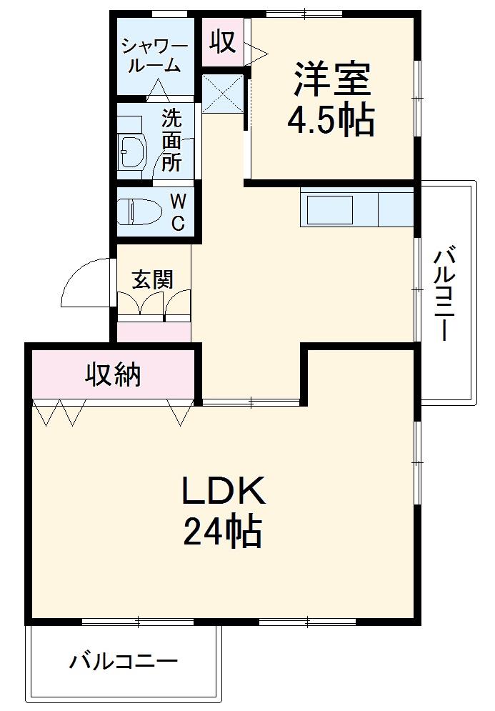 相生山団地44棟・501号室の間取り