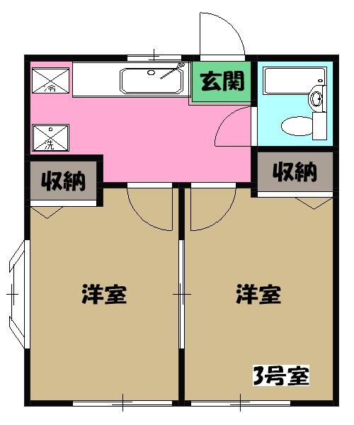 ハイツ田野倉・102号室の間取り