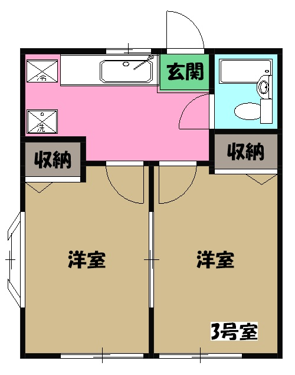 ハイツ田野倉・103号室の間取り