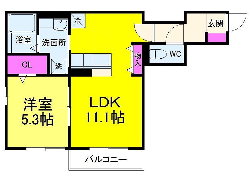 AXIS松戸・305号室の間取り
