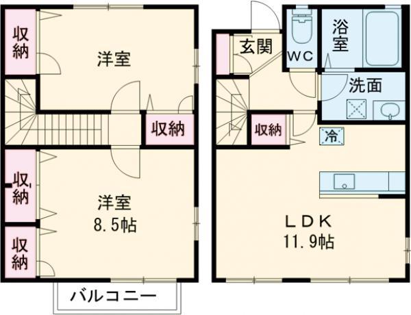 グランバリエ福島A棟・102号室の間取り